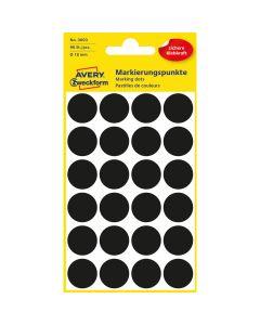 Etykiety ZF Q18mm czarne kółka 3003 AVERY ZWECKFORM