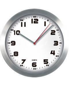 Zegar ścienny aluminiowy, 29,5cm srebrny z białą tarczą MPM E01.2482