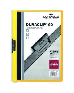Skoroszyt zaciskowy A4 1-60k żółty DURACLIP Original 220904 DURABLE