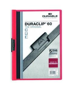 Skoroszyt zaciskowy A4 1-60k czerwony DURACLIP Original 220903 DURABLE