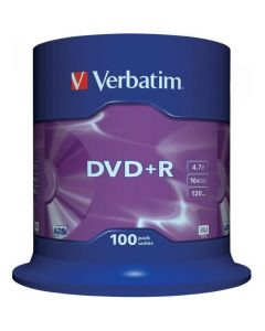 Płyta DVD+R VERBATIM CAKE(100) 4.7GB x16 Matt Silver 43551